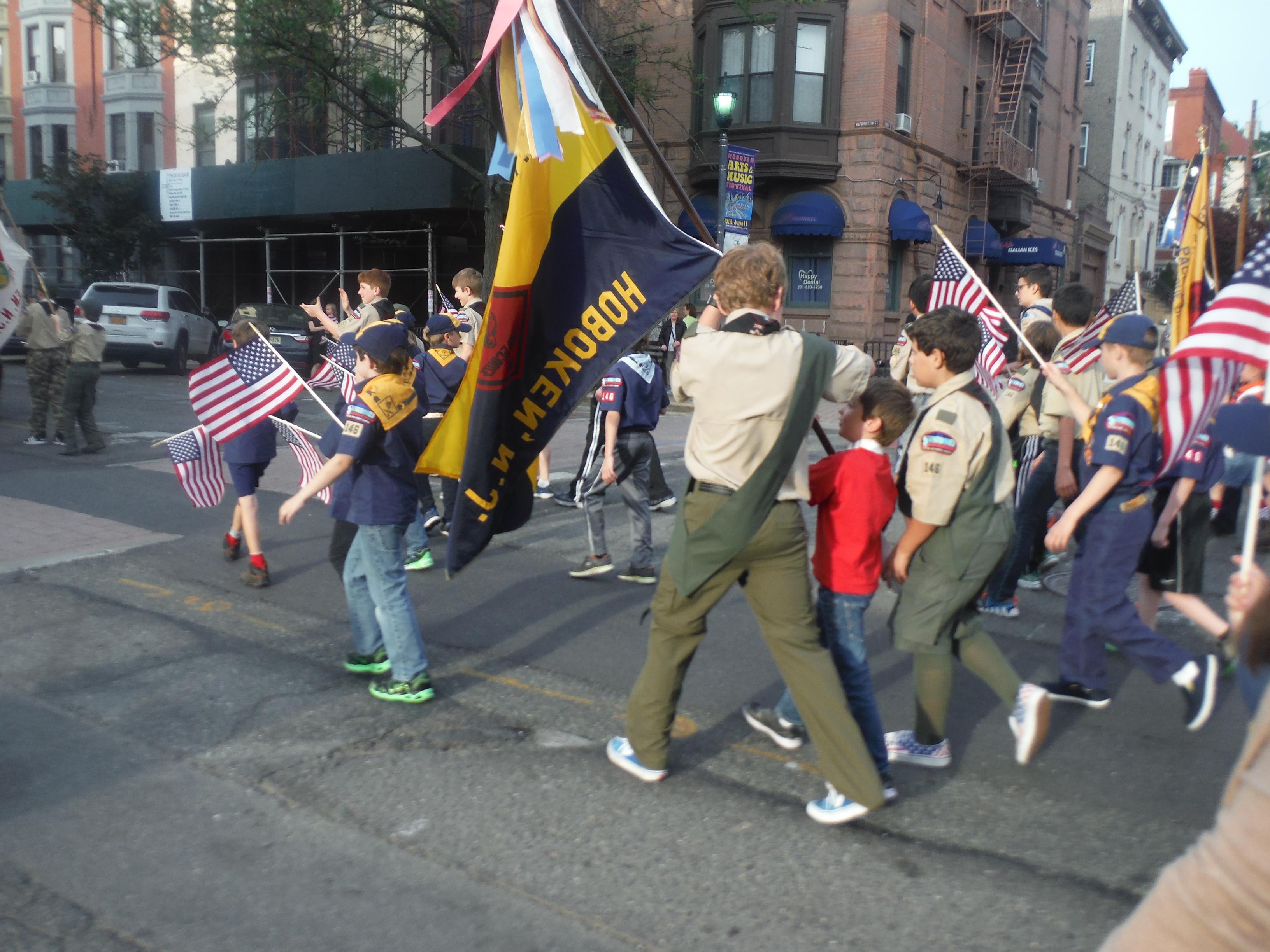 troop 146 at the memorial day parade